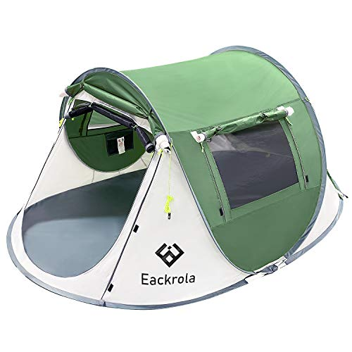 Eackrola テント 2人用 アウトドア ソロ キャンプテント ワンタッチ 防風防水 ポップアップテント 設営簡単 折りたたみ 超軽量 防災用 収納袋付き 日本語説明書付き