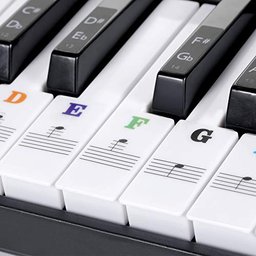 Piano Keyboard Stickers for 88/61/54/49/37 Key, Bold Large Letter Piano Stickers for Learning, Removable Piano Keyboard Letters, Notes Label for Beginners and Kids, Colorful