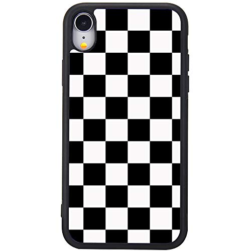 MAYCARI Compatible with iPhone XR Case for Girls Women, Hard Back Case with Soft TPU Bumper Protective Cute Phone Case Cover with Black White Checkered Pattern for iPhone XR