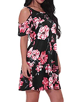 Viracy Tunic Dresses for Women Female Loose Dress Comfortable Casual Off Shoulder Sun Dress Graceful Fit and Flare Long T Shirt Top Flowy Summmer Beack Outfit Black Floral Print XLarge