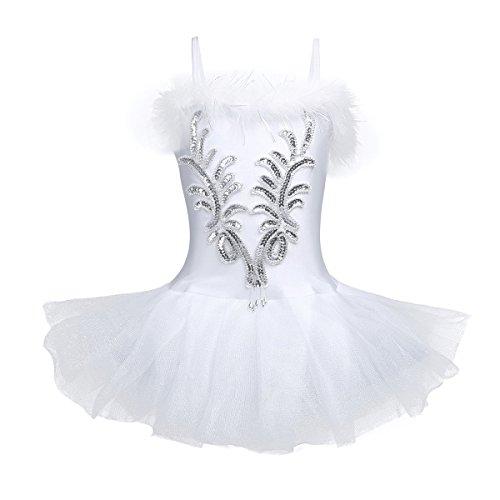 Freebily Vestido de Fiesta Actuación Maillot de Ballet Danza con Flor de Lentejuelas para Niña (4-12 años) Tutú Infantil + Guantes + Clip Blanco 8-10 Años