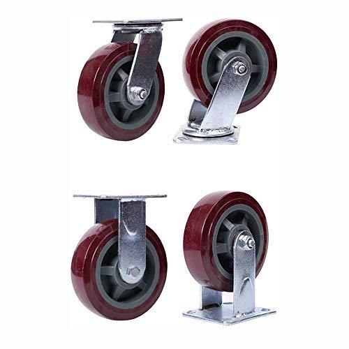 4 stuks Castor Wheel, Rubber Heavy Duty Castor Set, Heavy Metal Frame Board, stevige Strike Preventie anti-kras, for de poort Frame Industrial Machines Karren (2 Universal Wheels + 2 Vast)