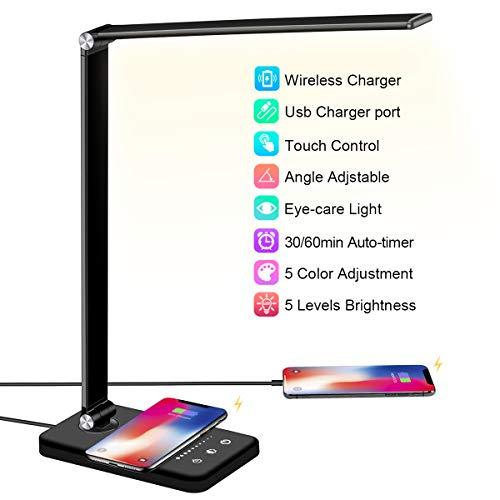 Schreibtischlampe LED mit Wireless Charging, USB Ladeanschluss, BIENSER Smartphones Tischlampe mit 5 Helligkeits X 5 Farbstufen, Augenschonende LED Dimmbar, Sensible Kontrolle, 30/60 min Auto Timer
