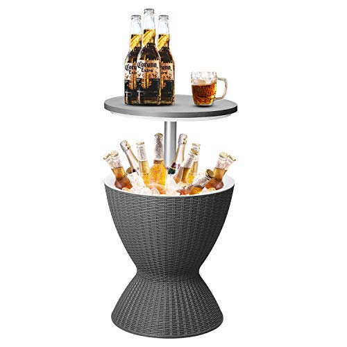 DOIT Height Adjustable Cool Bar Outdoor Patio Table,All-Weather Cool Wicker Bar Table with Ice Bucket for Party, Pool, Deck, Beach (Black, Modern)…