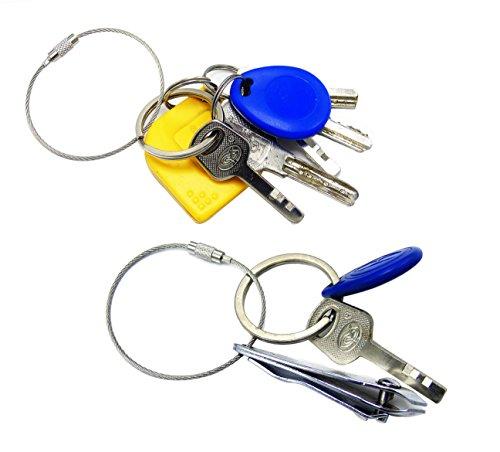 Lontenrea ステンレスワイヤーリング ワイヤーキーホルダー 携帯小型 紛失防止 盗難防止 外出 30個セット [6832]