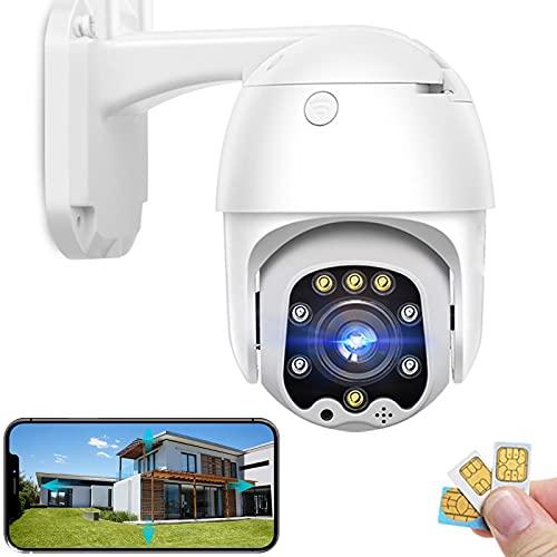 PTZ Telecamera di Sorveglianza Esterno 4G SIM Carta IP Videocamera 1080P HD Visione Notturna a Colori Avviso di Rilevamento del Movimento Audio Bidirezionale Impermeabile (Telecamera+128G-SD-carta)