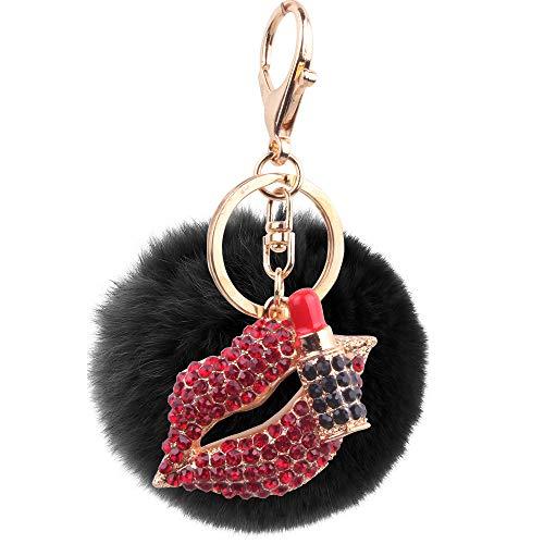 8CmHaar Ball Diamant Lippenstift Rote Lippen Schlüsselanhänger Metallhaarschmuck Schwarze Kugel Beutel Auto