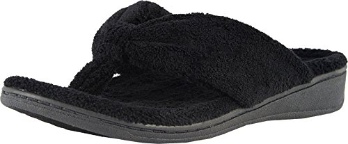 Vionic Women's Indulge Gracie Slipper - Comfortable Toe-Post Thong Spa House Slippers That Include Three-Zone Comfort with Orthotic Insole Arch Support, Soft House Shoes for Ladies Black 9 Medium US