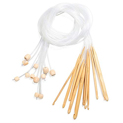 Ellepigy 12 pares de agujas de tejer circulares de bambú carbonizado de 120 cm