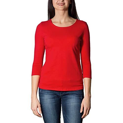 Alkato Damen Shirt 3/4 Arm mit Rundhals, Farbe: Rot, Größe: M