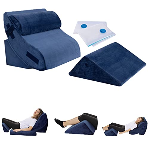 Bed Wedge Pillow - 4 Piece Advanced Adjustable Orthopedic Pillow Set with Memory Foam - System for Legs and Back Support | Acid Reflux, Anti Snoring, Heartburn - Machine Washable Cover, Navy