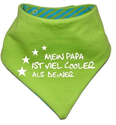 KLEINER FRATZ KLEINER FRATZ Kinder Wendehalstuch uni/gestreift (Farbe lime-royal) (Gr. 2 (74-98)) Mein Papa ist cooler als deiner FAT