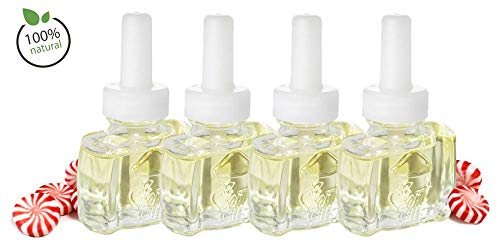 Scent Fill (4 Pack) 100% Natural Fresh Peppermint Plug in Refills - Fits Air Wick Scented Oil Warmers