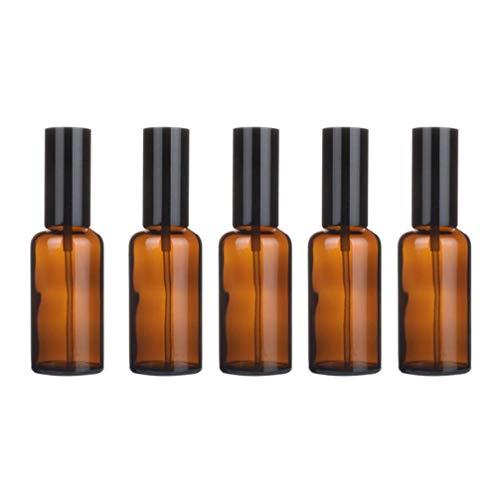 TOPBATHY 5 Pcs Huile Essentielle Bouteilles Vides Parfum Brumisateurs de Parfum Rechargeables Petits Distributeurs de Liquide Échantillon de Verre Corps Huile Essence Pots (Presse 50 Ml)