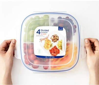 LOCK & LOCK Frischhaltedosen aus Kunststoff – 3er Vorratsdosenset – quadratisch – Lunchbox mit Deckel und Trennfach – 1,35 l
