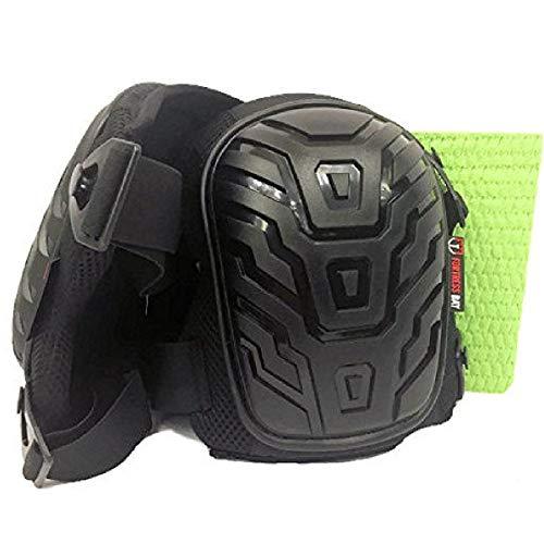 Best Work Knee Pads- Heavy Duty Set, Black Padded Shell, Comfortable Gel Cushion, Adjustable Clips, Flexible Straps for Adult Men & Women for Construction, Gardening, Bathroom & Bonus Cleaning Sponge