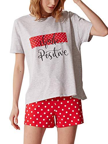 LC WAIKIKI Conjunto de pijama y pantalones cortos para mujer. rojo_1 XL