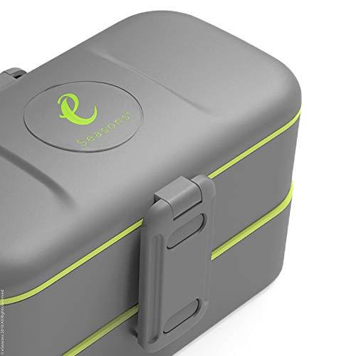 eSeasons Bento Lunchbox 2 Level 4 auslaufsichere Fächer dunkel Grau Edelstahlbesteck BPA frei