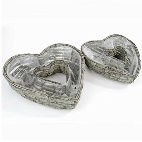 Trauer-Shop Herzen zum bepflanzen im 2er Set aus Rinde. Herz 1: D 28cm. Herz 2: D 35cm. 2er Se
