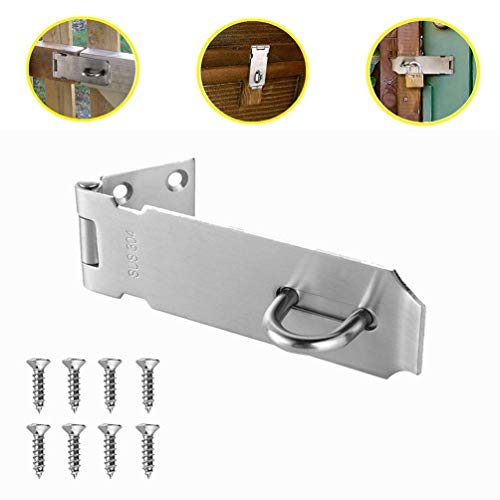 Padlock Hasp, SUS 304 Stainless Steel Door Buckle Latches Security Lock Door Hasp Latch Lock Brushed Finish for Shed Latch and Cabinets (4 inch)