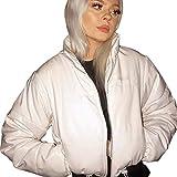 Women Fashion Short Puffer Jackets Bandana Printed Cropped Down Jackets Lightweight Zipper Bubble Coats (White, M)