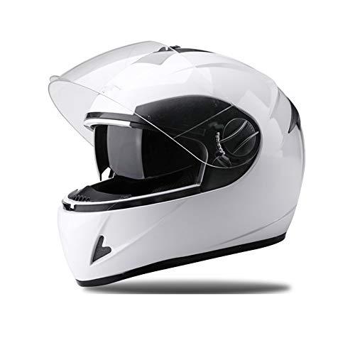 YHDQ Vizier flip volledige modulaire helm, mannelijke anti-mist vier seizoen volledige helm, zonnebescherming helm, dubbele spiegel volledige helm, warme anti-mist, stuur slab Retro size Kleur: wit