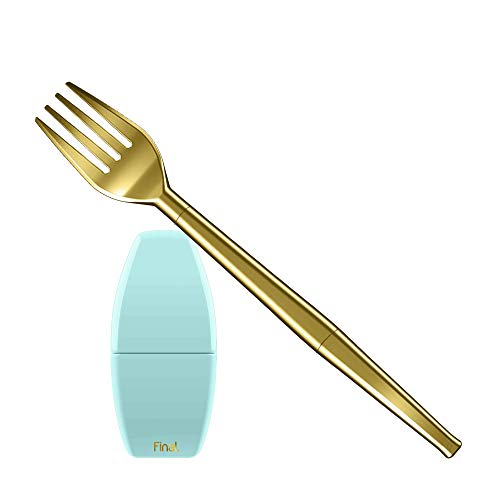 FinalFork Collapsible Reusable Metal Fork | BPA Free Silicone Lining | Fork with Travel Case | Stainless Steel | Easy to Clean | Eco-Friendly | Sea Tur-Teal Case, Gold Fork