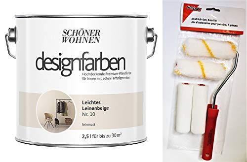 Schöner Wohnen designfarben feinmatte Wandfarbe für innen 2,5 Liter mit go/on Rollen-Set 5-tlg (Nr 10 Leichtes Leinenbeige)