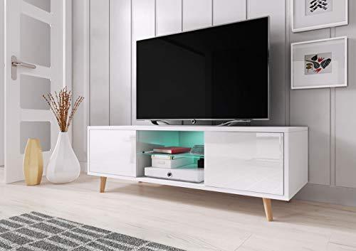 WFL GROUP Mobile TV Moderno con LED - Stile Scandinavo - 140 cm - per TV Fino a 55