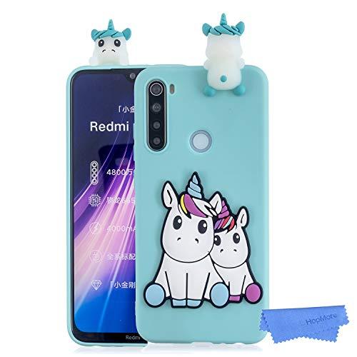 HopMore Funda para Xiaomi Redmi Note 8T Silicona Blando Dibujo 3D Divertidas Panda Animal Carcasa TPU Ultrafina Slim Case Antigolpes Caso Protección Cover Design Gracioso - Unicornio Verde
