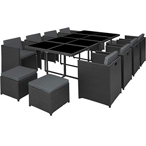 TecTake 800674 Poly Rattan Aluminium Garden Cube 12 Seater Dining Set, 8 Chairs + 4 Stools + 1 Table, incl. Protection Slipcover (Black | no. 403089)