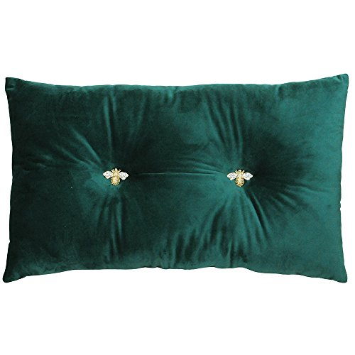 Bumble Rectangular Bee Scatter Cushion - Emerald Green - Faux Velvet Look and Feel - Jewelled Metal Bee Buttons - Polyfilled - 100% Polyester - 30 x 50cm (12' x 20' inches) - Made by Riva Paoletti