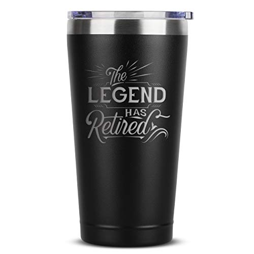The Legend Has Retired - Retirement Gifts for Women Men Coworker Boss Supervisor Employee - 16 oz Black Insulated Stainless Steel Tumbler w/Lid - Retiring Present Ideas Party Decorations Mug Cup