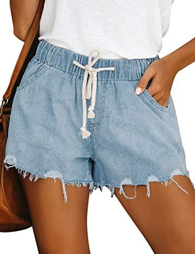 luvamia Women's Ripped Denim Jean Shorts Elastic Waist Drawstring Casual Shorts Sky Blue Size X-Large
