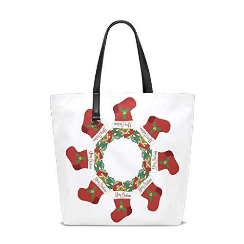 NaiiaN Bolsos de hombro Medias navideñas Patrones de regalo Bolsos para mujeres Niñas Damas Estudiante Bolso grande con correa de peso ligero Bolso de compras