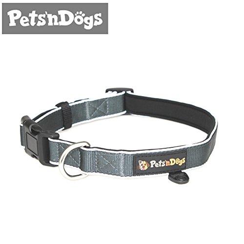 Pets'nDogs Premium Hunde-Halsband aus hochwertigem Nylon mit softem Neopren-Futter | 3M-Reflektoren für perfekte Sichtbarkeit | (Größe M) stufenlos einstellbar | + 2 Gratis-Booklets