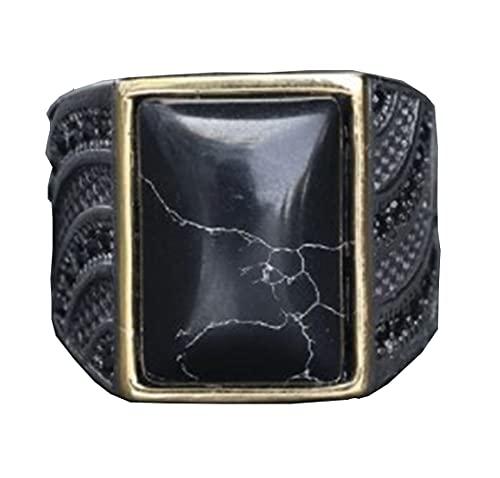 HIJONES Clásico Cuadrado Negro Diamante Anillo para Hombres Acero Inoxidable con Gótico Boda Joyas Talla 28