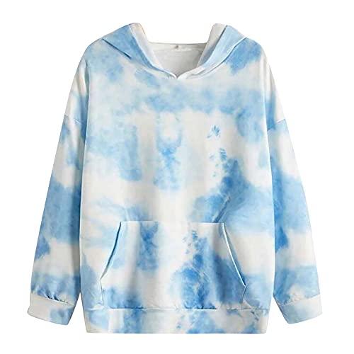 XOXSION Dames Tie Dye sweatshirt, modieuze pullover casual hoodie sexy capuchontrui slim hooded klassieke tops print lange mouwen losse trui, blauw, XL
