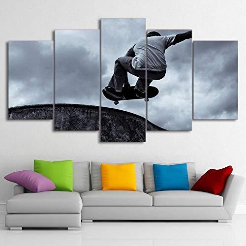 TXFMT Geen frame canvas decoratie schilderij handgemaakte DIY Modern HD Gedrukt Canvas Pictures Wall Art 5 Stuks Vintage Skateboard Schilderen Zwart Klassieke Poster Voor Kinderen Kamer Decor 5 stuk moderne landsca 200*100CM