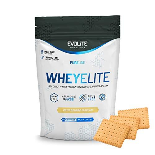 Evolite Nutrition WheyElite 900 g - Proteina Whey - Crear Batidos Para Adelgazar - Proteinas Para Aumentar Masa Muscular - Proteina Isolada (Petit Beurre)