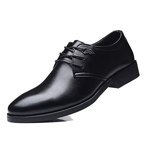 JEOSNDE Oxford de Negocios for Hombres Zapatos Formales de Cuero de Microfibra con Punta en Punta Tacón Bloqueado Zapatos Formales (Color : Brown, Size : 44 EU)