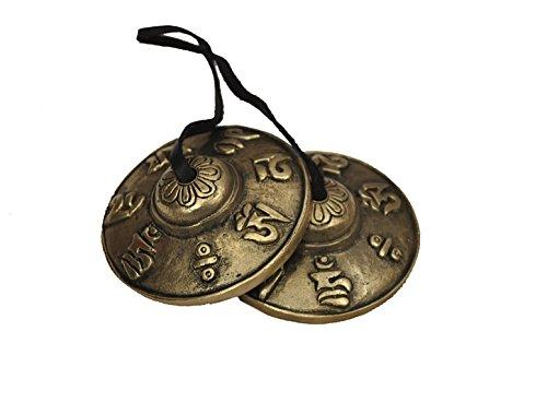 Dharma Store–Tibetische Tingsha Becken–6,6cm–OM Mane Padme Hum Symbole geprägt