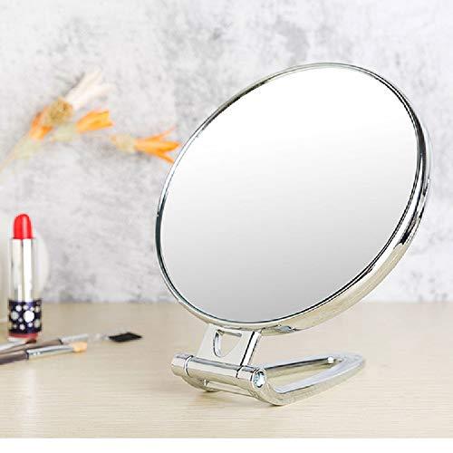 Miroir de maquillage de bureau à poignée double face Portable miroir mural pliant miroir de salle de bain,Silver