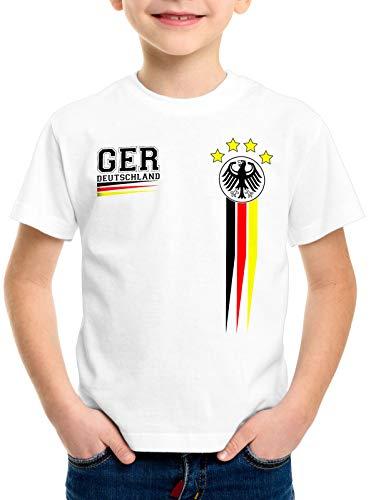 style3 Deutschland Kinder T-Shirt Germany Fußball Europameisterschaft Trikot EM 2020, Farbe:Weiß, Größe:128