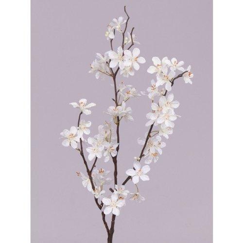 artplants Branche décorative de pommier en fleurs, 57 fleurs, blanc crème, 85 cm - Branche artificielle fleurie