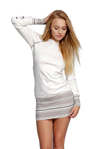 SENSIS edles und hochwertiges Baumwoll-Nachthemd Sleepshirt Langarm im tollen Norwegermuster, Ecru/braun mit Norwegermuster, Gr. XL (42)