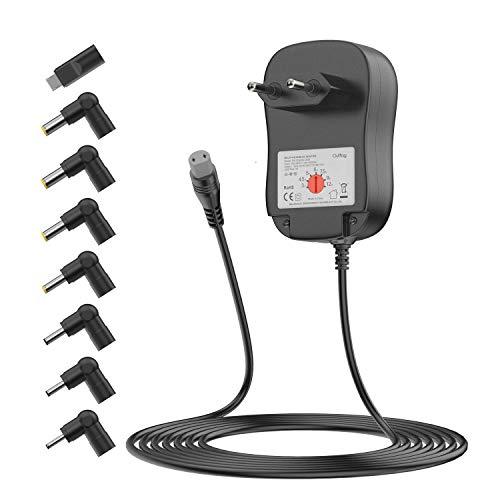Outtag 36W, 3V 4,5V 5V 6V 7,5V 9V 12V 2A (2000mA) universal regulable, alimentación cargador adaptador de corriente con 8 tomas para el altavoz electrónico doméstico/bandas LED/videocámara / CCTV