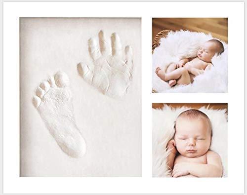 Baby Handabdruck und Fußabdruck Set, Keroos Baby Holz Bilderrahmen mit Gipsabdruck, Babygeschenk für Neugeborene, Taufgeschenk, Newborn