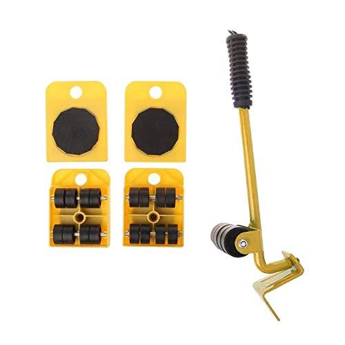 QiKun-Home Möbel-Mover-Werkzeugset Möbeltransport-Lifter Schwere Sachen Bewegliches Werkzeug Roll-Mover-Walzen-Handwerkzeug-Set gelb