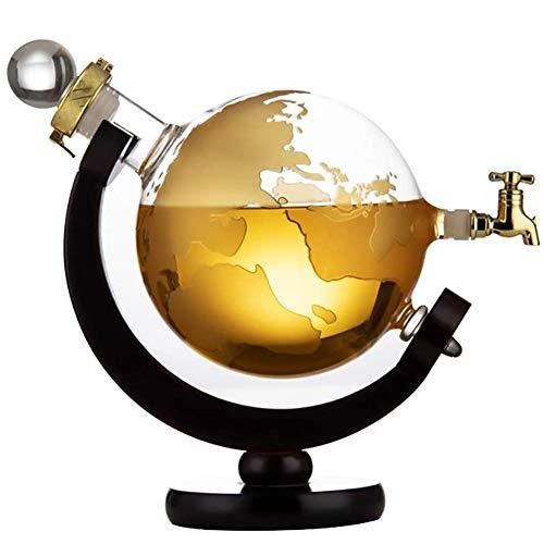 BYGZZ Whiskey Glas Karaffe, Destillationskolben Getränk Globus Modell- Verteiler 2000ml, einschließen Wasserhahn 360 ° Drehbar Rotwein Rum Spirituosen Likör Dichtung Karaffe